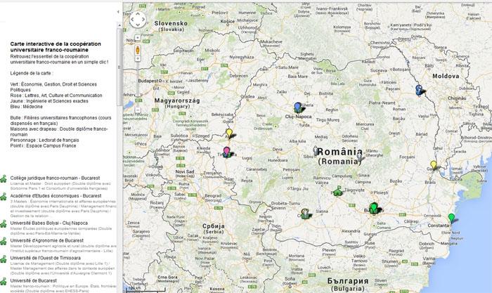 Etudes francophones en Roumanie carte-interactive